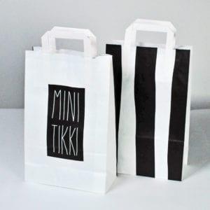 Papiertaschen mit Flachhenkel - die günstigsten Papiertaschen. Können mit unterschiedlichen Seiten bedruckt werden.