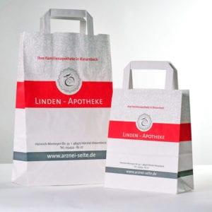 Papiertüte mit Flachhenkel und Blockboden für Apotheker