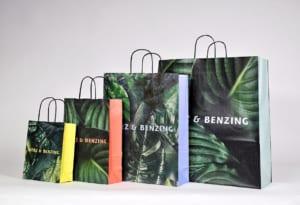 Günstige Torino Papiertaschen farbig bedruckt