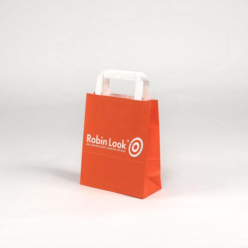 Kleine Papiertüte aus Kraftpapier für Apotheken oder Optiker, vollflächig bedruckt