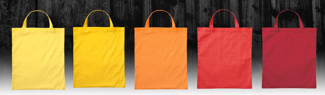 Baumwolltaschen in gelb, orange, rot