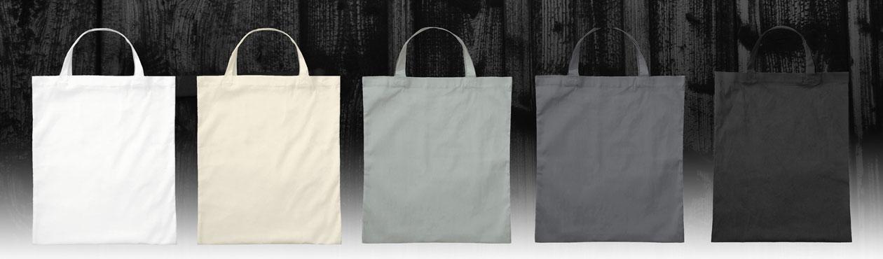 Baumwolltaschen weiss, grau und schwarz