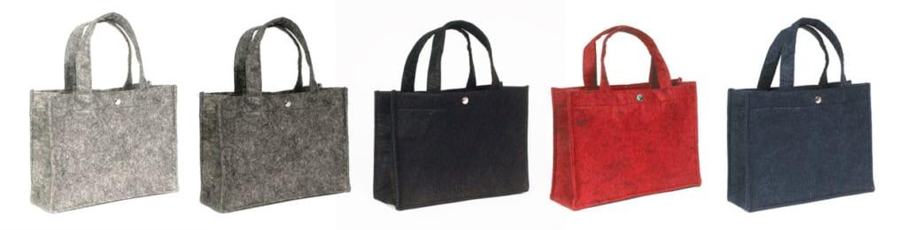 Kleine farbige Filztaschen in der Größe 27x10x22 cm mit Druckknopf und Bodeneinlage