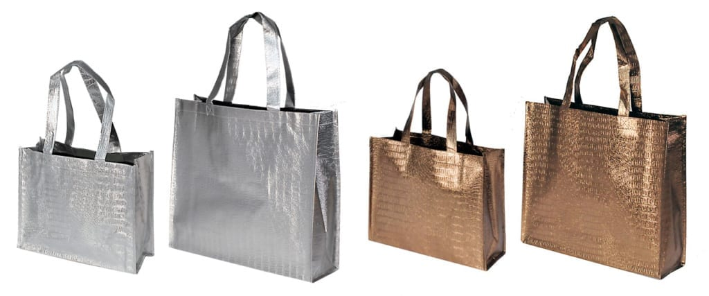 metallic shopper in silber und bronze