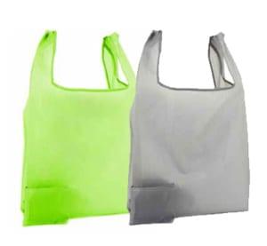 Nylontasche mit Etui in 2 Farben grün und grau