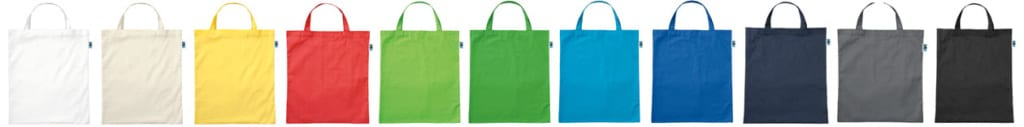 Fair-Trade Baumwolltaschen, alle Farben, kurze Henkel