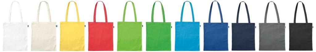 Fair Trade Baumwolltaschen, alle Farben, lange Henkel