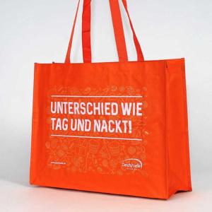 woven-shopper in orange, lange Henkel, bedruckt