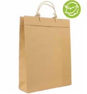 Öko-Papiertasche mit rustikaler Papierkordel, Randumschlag nach außen