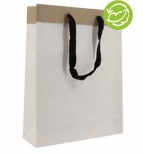 Papiertasche aus Duplex-Papier, Randumschlag nach außen, breites Baumwollband