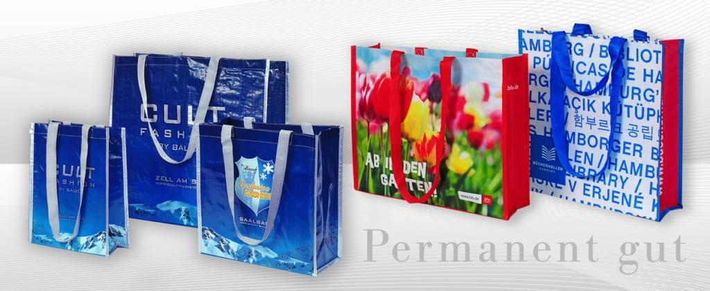 Permanenttaschen, pp woven shopper, farbig bedruckt