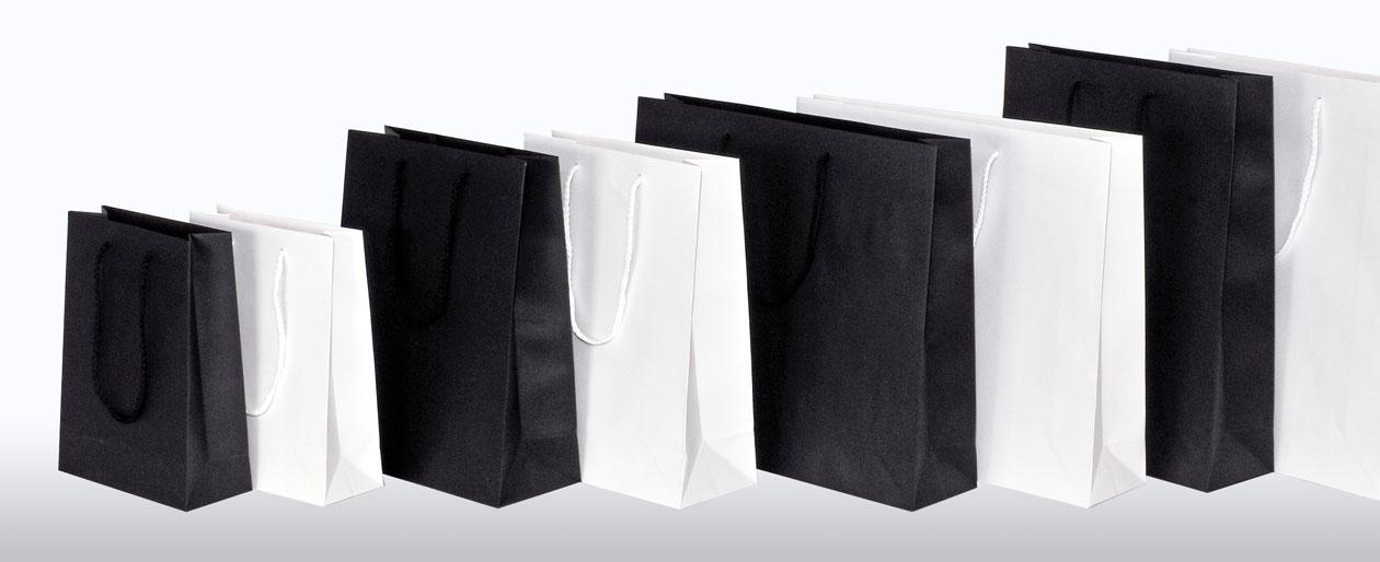 Kraftpapiertaschen mit Baumwollkordel in 4 Größen