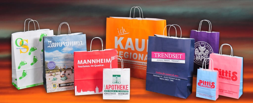 Papiertaschen mit Kordel, bedruckt mit Motiv oder Logo