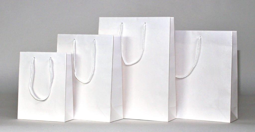Kraftpapiertüten, weiss, in 4 Größen