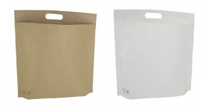 Versandtaschen aus Papier mit Griffloch und Bodenfalte