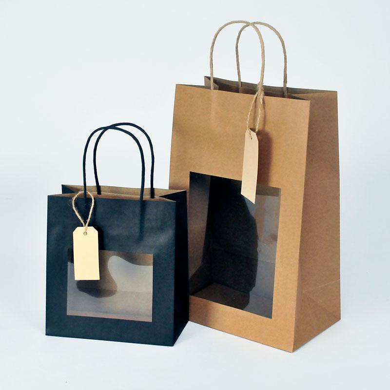 Papiertaschen mit Sichtfenster und Etikett
